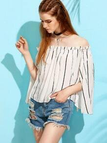 White Vertical Striped Cape Sleeve Off The Shoulder Top