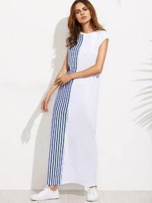 Colorblock Striped Cap Sleeve Shift Maxi Dress
