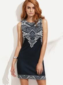 Navy Print Sleeveless Sheath Dress