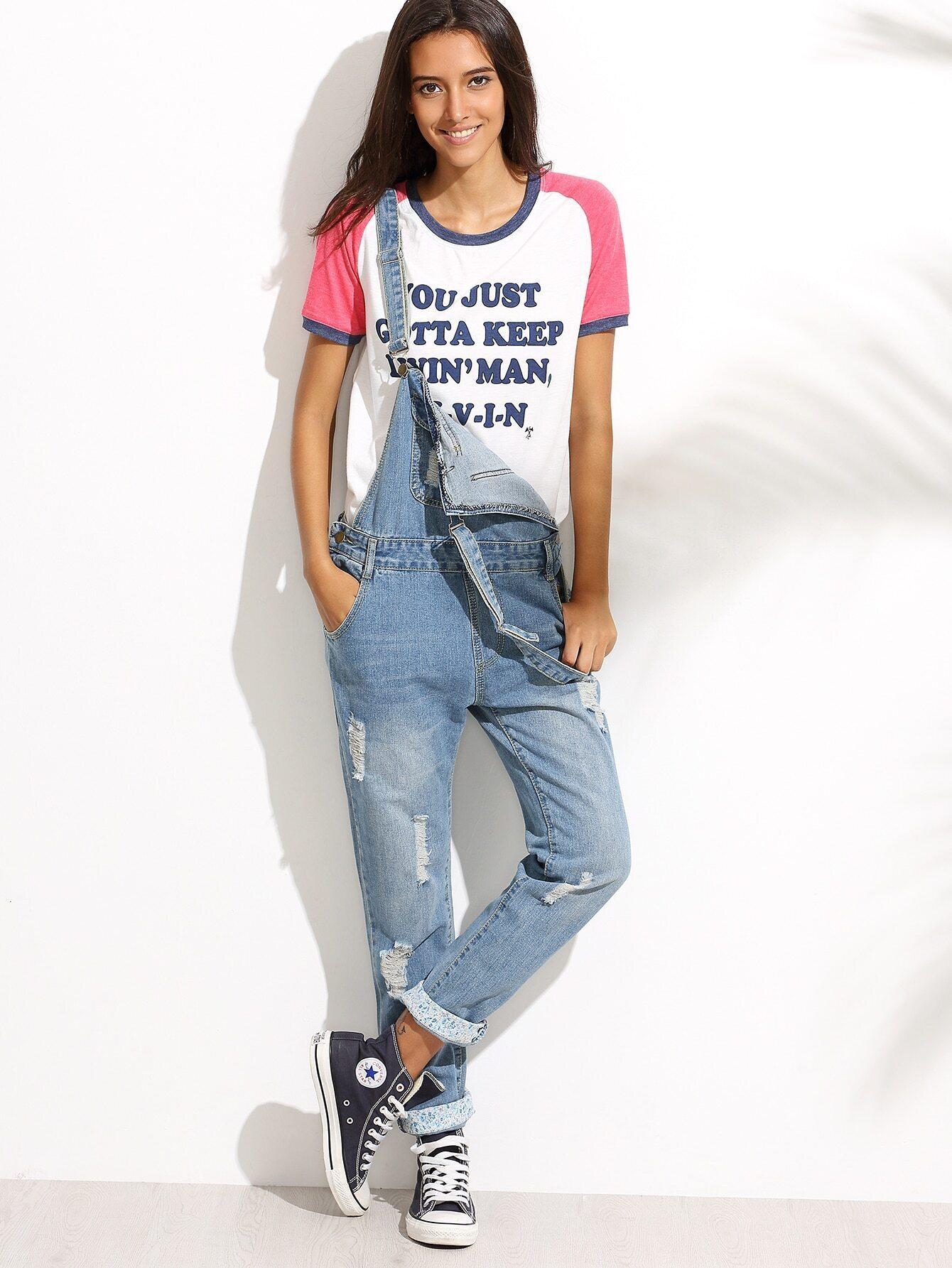 Kurze ZerriГџene Jeans