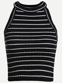 Black Striped Ribbed Knit Halter Neck Top