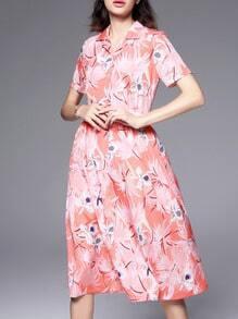 Pink V Neck Floral Belted A-Line Dress