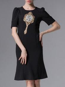 Black Sequined Beading Embroidered Shift Dress