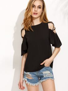 Black Crisscross Shoulder Blouse