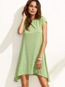 Green Short Sleeve Asymmetrical Dress