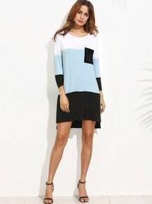 Colorblock Split Side Shift Dress