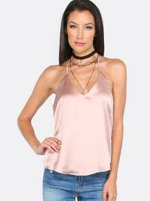Pink V Neck Backless Cami Top