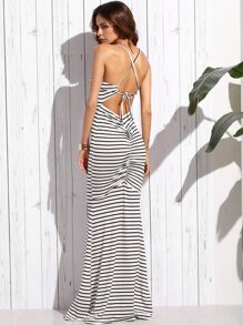White Striped Crisscross Shirred Back Maxi Dress