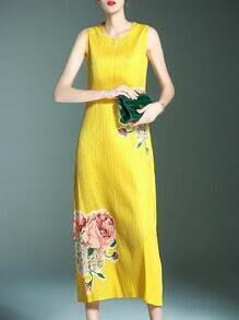 Yellow Pleated Elastic Flowers Print Dresss