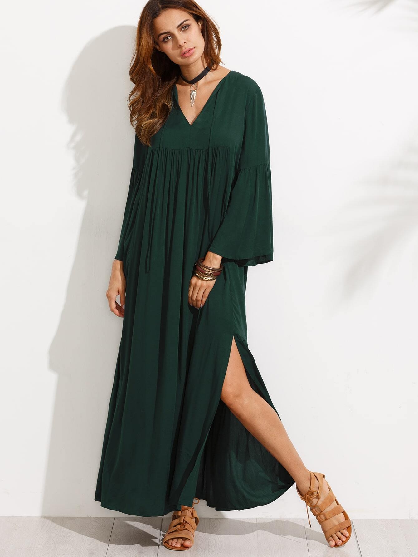 V Neck Bell Sleeve Dress