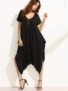 Black V Neck Short Sleeve Harem Jumpsuit