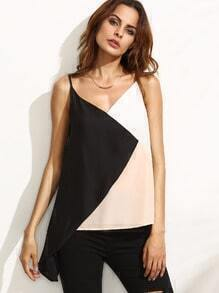 Colorblock V Neck Asymmetrical Cami Top