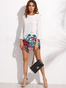 White Floral Print Long Sleeve Shift Dress