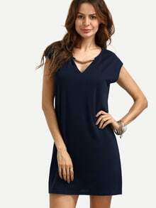 Blue V Neck Shift Dress