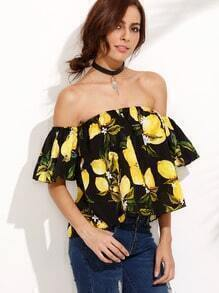 Off The Shoulder Lemon Print Blouse