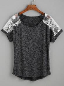 Contrast Lace Raglan Sleeve T-shirt