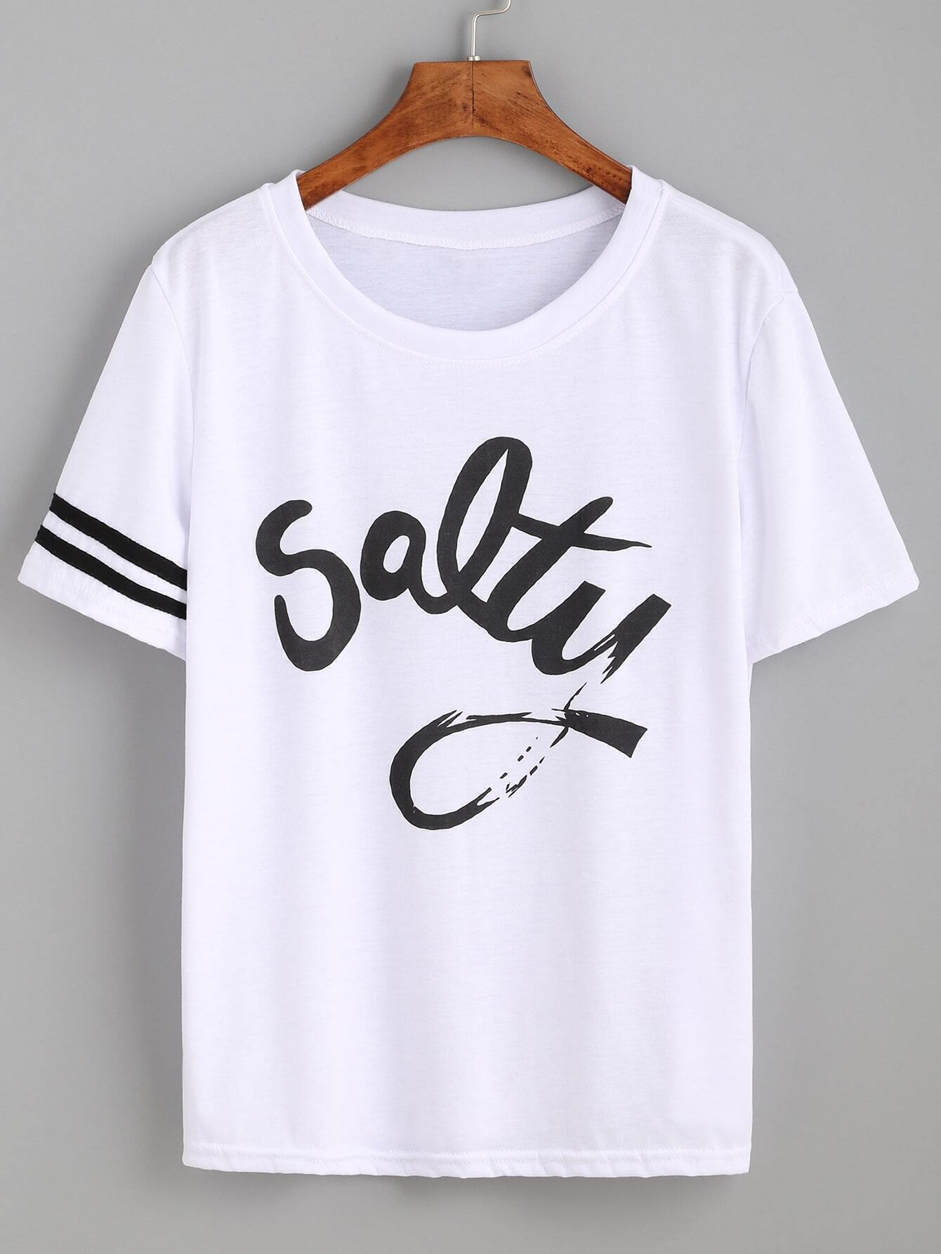 White striped trim letters print t shirt emmacloth women for Letter print t shirt
