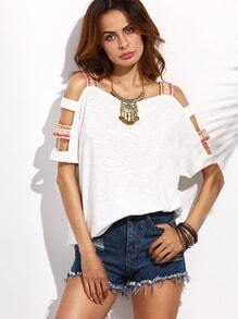Beige Cutout Sleeve T-shirt