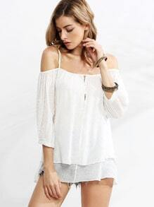 White Button Front Layered Cold Shoulder Blouse