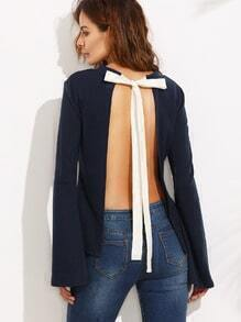 Navy Tie Open Back Long Sleeve Blouse