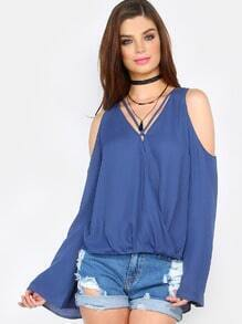 Royal Blue Criss Cross Neck Cold Shoulder Blouse
