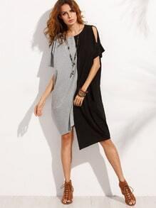 Color Block Asymmetrical Split Sleeve Dress