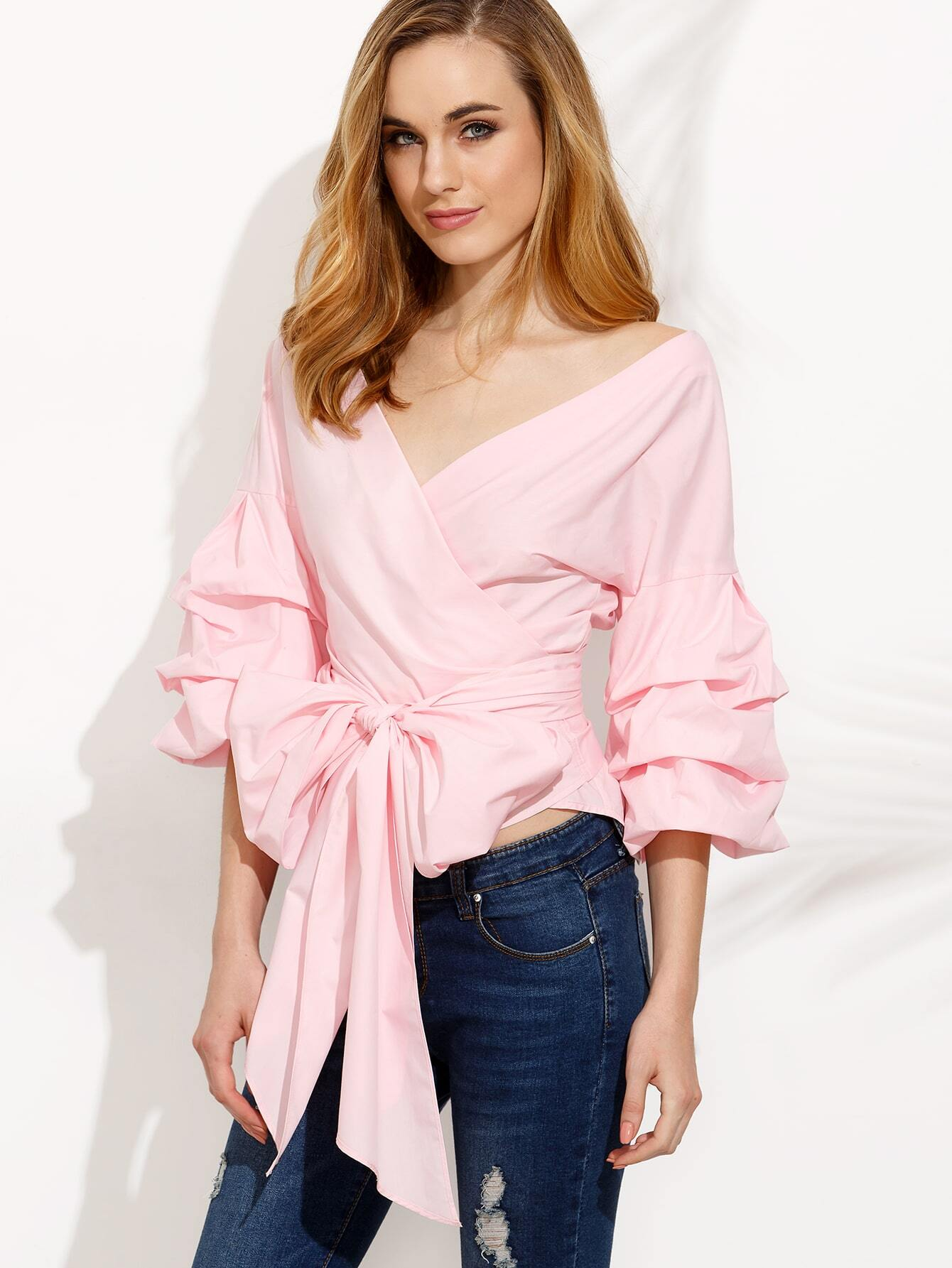 Pink Pleated Bell Sleeve Bow Tie Waist Blouse EmmaCloth-Women Fast ...