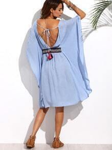 Blue Batwing Sleeve Tie Backless Dress
