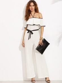 Black and White Halter Ruffle Tie Waist Jumpsuit