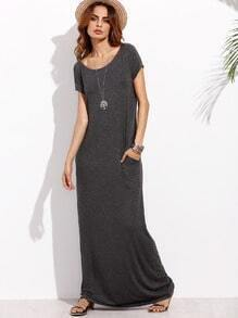 Dark Grey Pocket Short Sleeve Maxi Dress