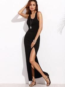 Black Racer Back Split Side Sleeveless Long Dress