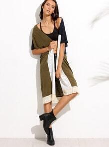 Color Block Tassel Hem Short Sleeve Kimono