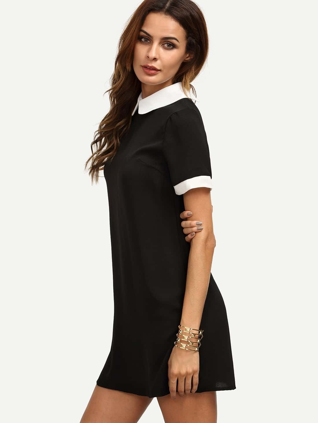 black peter pan collar short sleeve shift dress emmacloth women fast fashion online. Black Bedroom Furniture Sets. Home Design Ideas