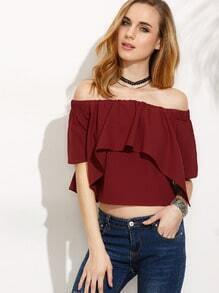 Burgundy Ruffle Off The Shoulder Crop Blouse