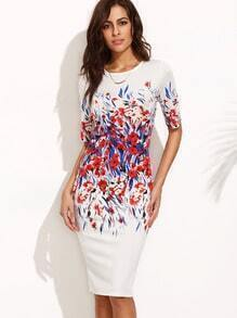 Floral Print Split Back Short Sleeve Sheath Dress