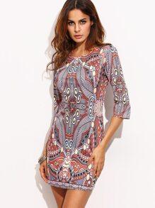Multicolor Ornate Print Sheath Dress