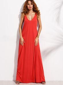 Red Deep V Neck Sleeveless Knitted Shift Maxi Dress