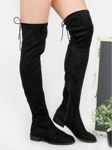Flat Heel Thigh High Boots BLACK