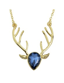 Darkblue Rhinestone Deer Pendant Necklace