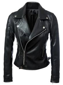 Black Lapel Zipper Lace Up Jacket