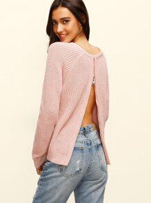 Pink Round Neck Zipper Split Back Long Sleeve Sweater