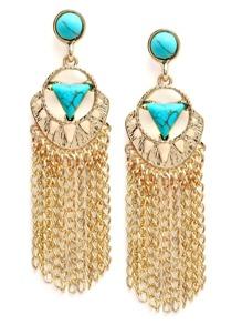 Turquoise Inlay Chain Tassel Earrings