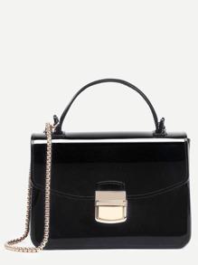 Black Pushlock Closure Plastic Handbag With Chain