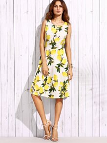 White Lemon Print Tie Back A Line Dress