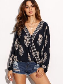 Navy Botanical Print Draped Blouse