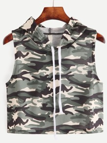Camouflage Print Sleeveless Hooded Top