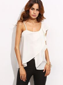 White Scoop Neck Ruffle Asymmetrical Top