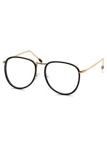 Retro Aviator Clear Lens Black Metal Frame Sunglasses
