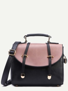 Black Contrast Flap Dual Strap Front Satchel Bag