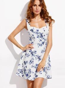 Floral Print Scoop Neck Sleeveless A-Line Dress